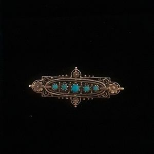 Jewelry - VINTAGE: Gold Tone Turquoise Beaded Brooch